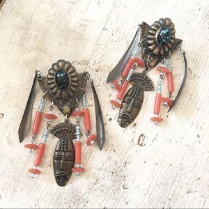 Vintage Metal African Mask Statement Earrings